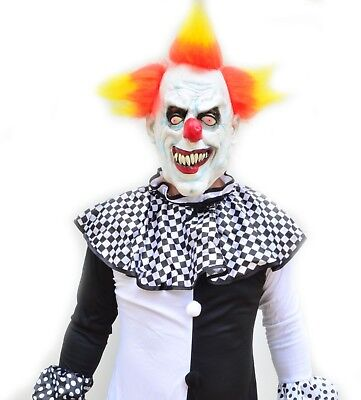 Scary Halloween Black & White Adult Mens Killer Clown Costume & Mask Yellow Hair - Black And White Scary Clown