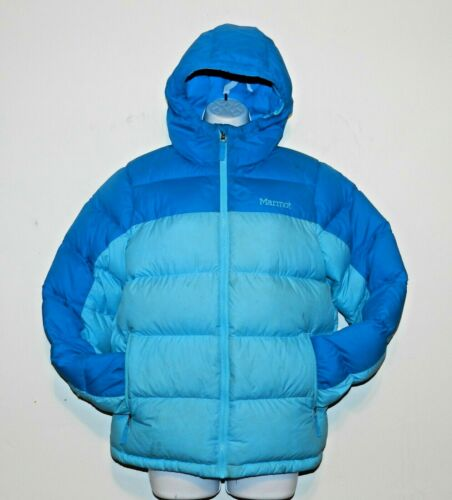 XL Marmot Youth Down Jacket Blue 650 Fill Down Quilted Puffer Size hooded