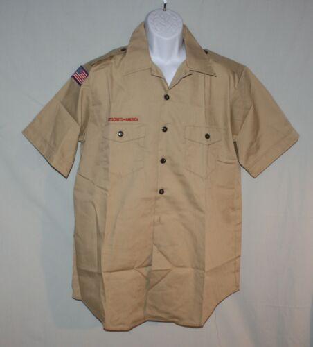 Mens Large Khaki Short Sleeve Boy Scout Official Uniform Shirt 16-16 1/ 2 NWT