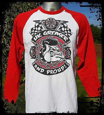 Greaser Boys (Franky Boy`s Apparel/Rockabilly/Proud UK Greaser Baseball Red Long Sleeve)