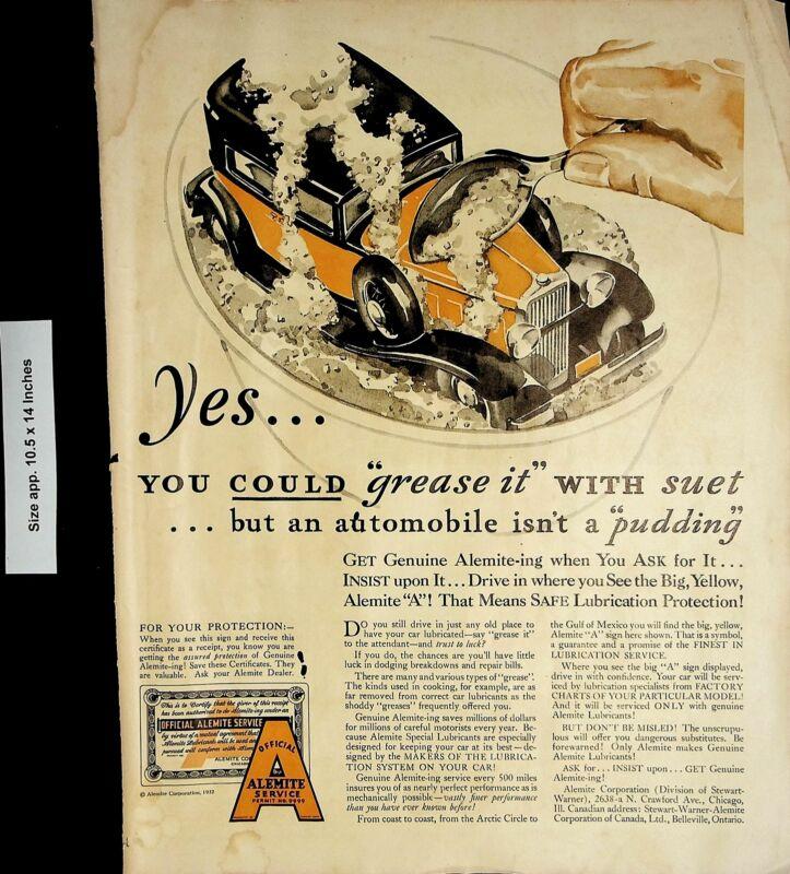 1932 Alemite Service Car Product Lubricant Alemite-ing Vintage Print Ad 4136