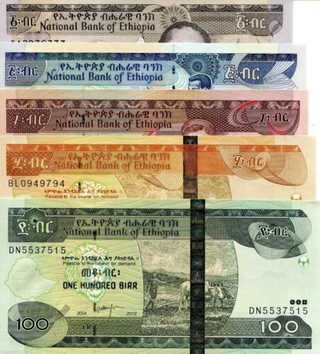 Ethiopia Banknotes, Complete Set of 5 Banknotes ( 1,5,10,50,100 Birrs), all UNC