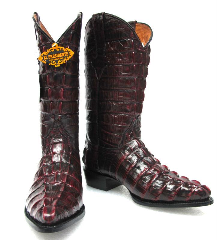 Mens, Crocodile, Alligator, Tail, Full, Leather, Cowboy, Western, Boots, J, Toe, Cherry,