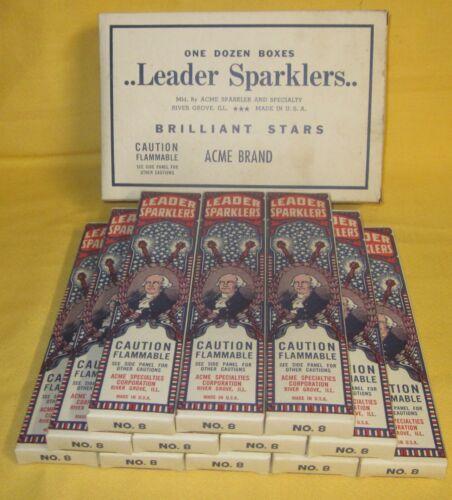 New Old Stock Vintage Full Box Leader Sparklers George Washington 12 Boxes Acme