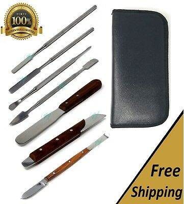 Set Of 7 Dental Fahen Knife Zahle Beale Lecron Carvers Cement Spatula Lab Kit