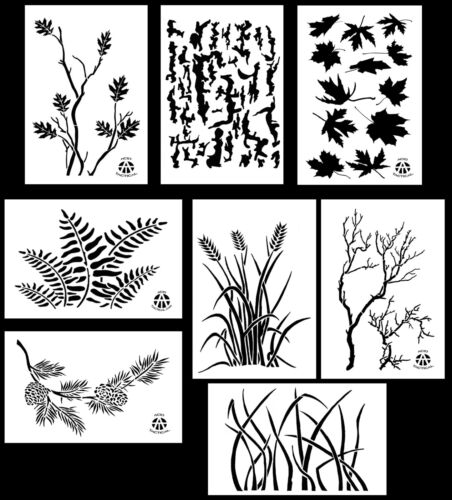 """8Pack! Spray Paint Camouflage Stencils 10 Mil DIY Camo Templates 14"""" (8 Designs)"""