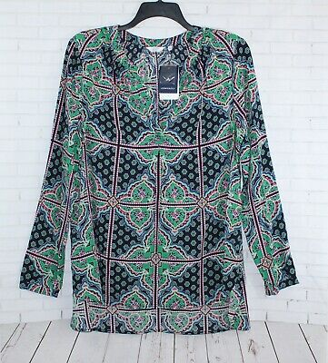 Crown & Ivy Printed Peasant Blouse Top Tunic Size XL Navy/Green Belted NEW Belted Blouse Top