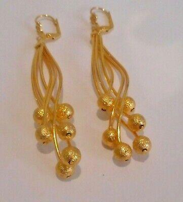 Ball Drop Pierced Earrings (Gold Plated Twisted Metal Ball Bead, Drop Dangle Lever Back Pierced)