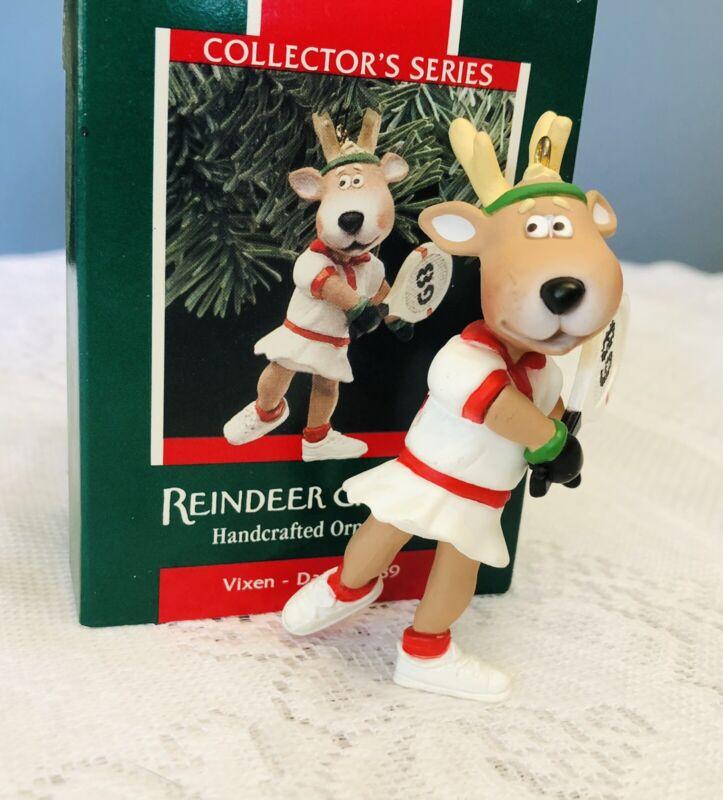 Vintage Hallmark Reindeer Champs Handcrafted Ornament Collectors Series Vixen
