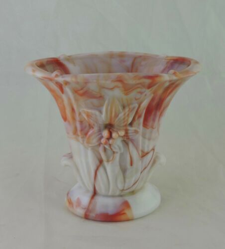 VINTAGE SLAG GLASS OPAQUE/ORANGE SMALL VASE FLOWER EMBOSSED GLASSWARE