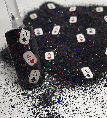 glitter mix nail art acrylic gel LUCKY HAND🎲 poker Las Vegas gamble dice cards  (Lucky Glitter)