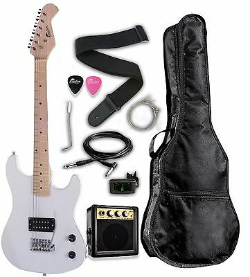 """Raptor 3/4 Scale 36"""" Kid's Starter Electric Guitar Pack WHIT"""
