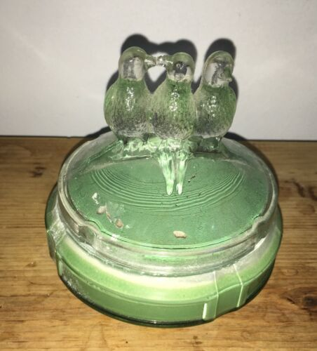 Vintage Green Painted Glass Powder Jar with Clear Birds on Cover & Puffs