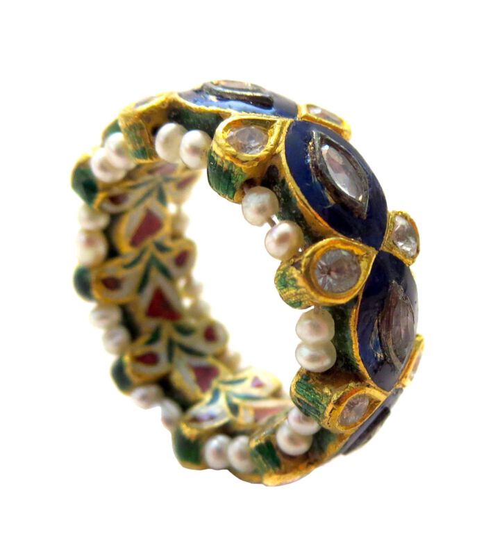 INDIAN Mughal DIAMOND Gold PEARL Enamel Antique/Vintage RING