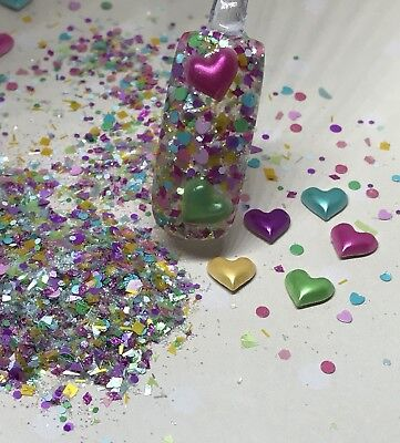 glitter mix nail art acrylic gel HEARTS OF MANY COLORS Valentine Mix](Valentines Coloring)