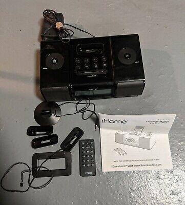 iHome (iH9) Black Ipod Speaker Dock Dual Alarm Clock Radio w/ Remote & More