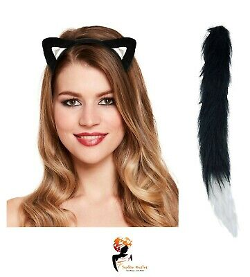 CAT EARS AND TAIL SET Instant Animal Fancy Dress Halloween Costume Book Week ](Halloween Cat Tail And Ears)