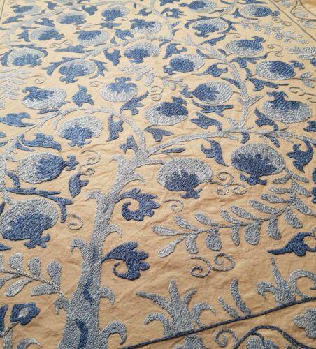Uzbek suzani original handmade vintage embroidery tapestry tablecloth bedspread
