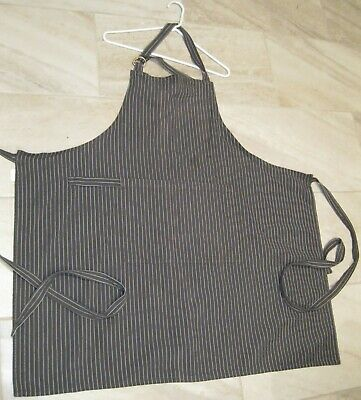 BLACK & WHITE GRAY & WHITE STRIPED KAY DEE DESIGNS APRON 2 POCKETS IN THE FRONT