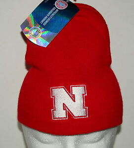 University-of-Nebraska-CornHuskers-Team-NCCA-Football-Red-Knit-Cap-Hat-New-OSFM
