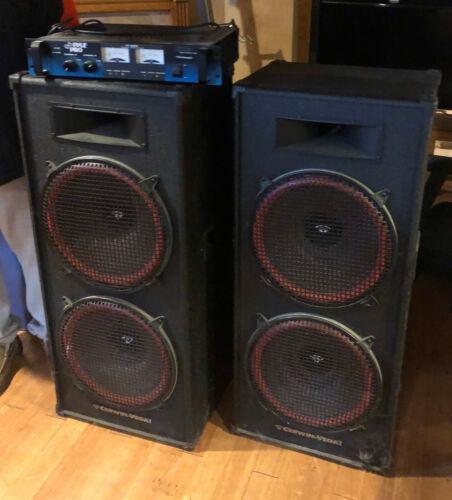 DJ Speaker Set CDs Denon DN-2500F Pyle Pro PT-3200 Power Amplifier MX600 Mixer