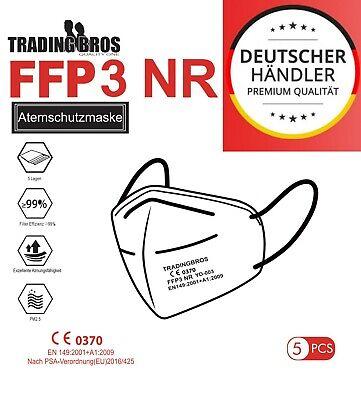 5x FFP3 Maske Ohrschlaufe Feinstaubmaske Mundschutz Schutzmaske Atemschutzmaske