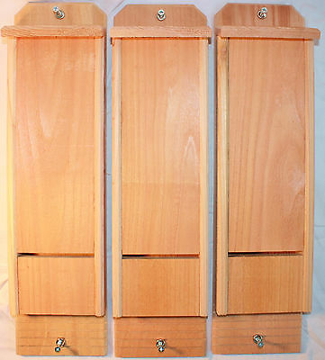 3 Single Chamber Cedar Bat Houses Hand Crafted Natural Pest Control