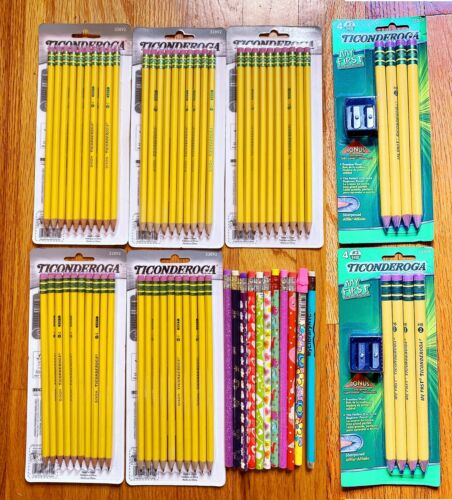 69 Count TICONDEROGA Pencils Wood-Cased #2 HB Soft Pre-Sharpened Eraser Yellow