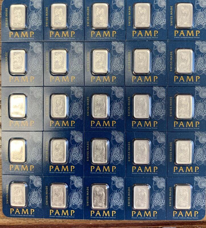 25 - 1 gram Platinum PAMP SUISSE bars collection