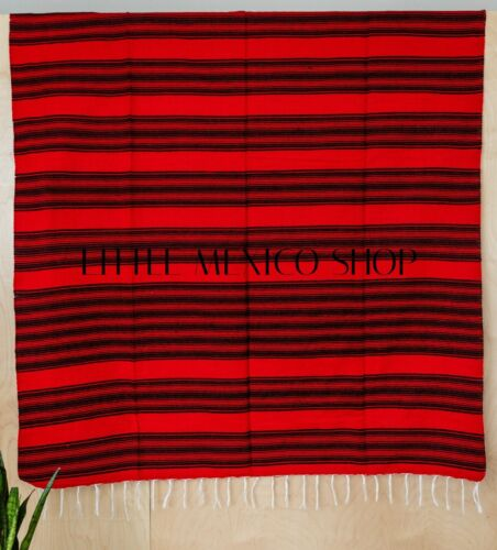 MEXICAN Blankets Serapes - Red/Black Saltillo Southwestern Yoga Soft
