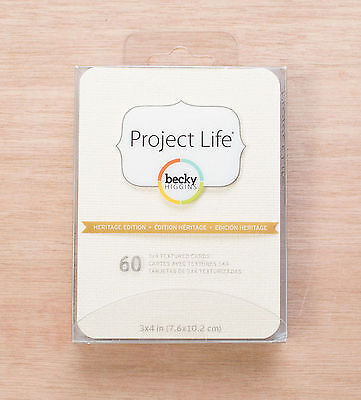 Becky Higgins Project Life  60  Heritage Edition 3X4 Cards Scrapbooking 6 Colors
