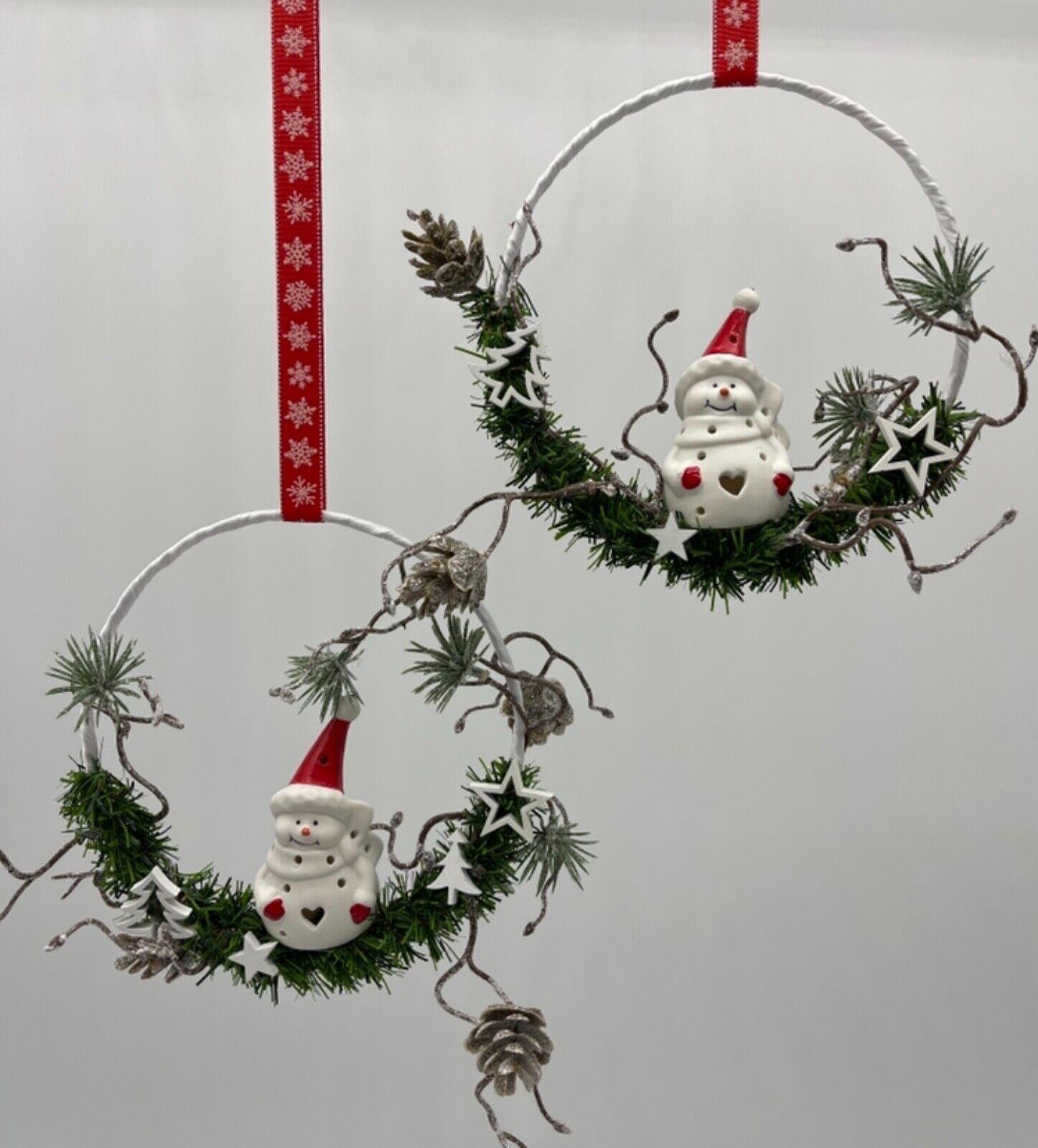 🌹 Fensterdeko Schneemann im Ring 15cm,Dekohänger, Fensterdekoration,Weihnachten