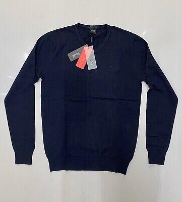 Mens Hugo Boss Cotton Jumpers Sweater Navy Blue Size Medium Long Sleeves