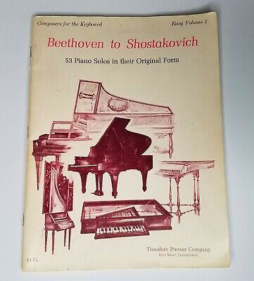 Beethoven To Shostakovich Composers Easy Volume 2 Keyboard 53 Piano Solo 1969 LQ Beethoven Keyboard Piano