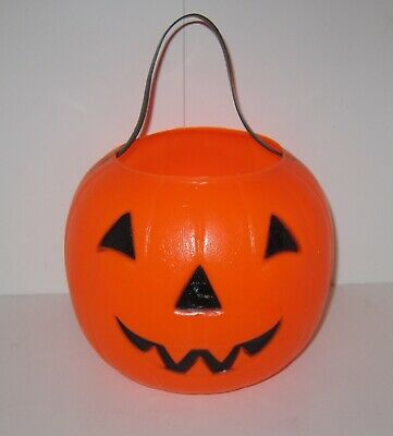 Empire Halloween Candy Trick Or Treat Bucket Plastic Blow Mold Pumpkin Vtg 1980