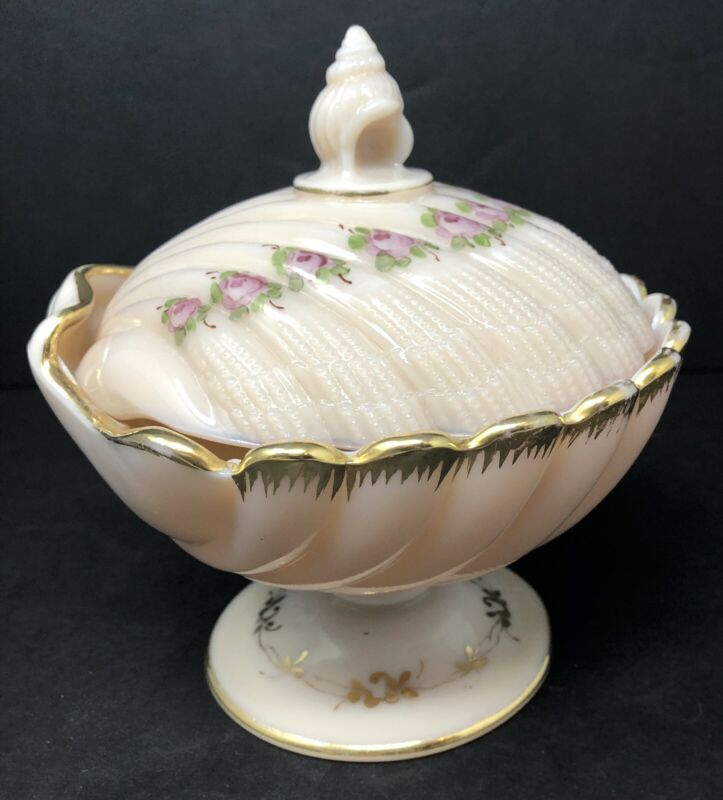 Vintage Lidded, Pedestal Clam Shell Pink Milk Glass Candy Dish, Hand Painted
