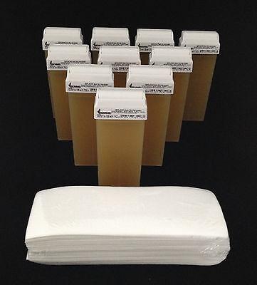 Set 10 Wachspatronen Honig, 100 Vliesstreifen, Wachs,Warmwachs,Haarentfernung