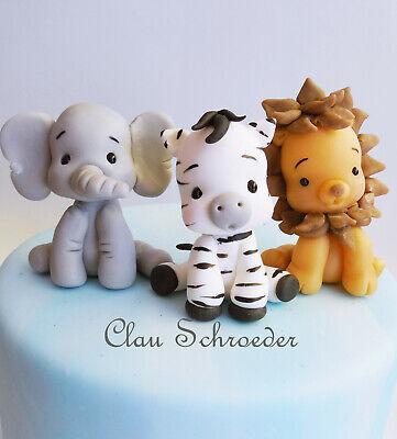 Elefant Zebra Löwe Lion Safari Figur Tortenfigur Deko Baby Shower Geburtstag