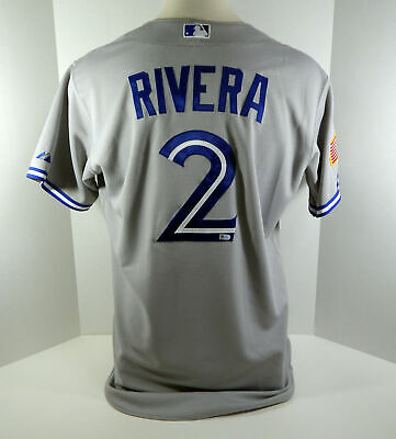 4e681f065 2015 Toronto Blue Jays Luis Rivera  2 Game Used Grey Indepence Memorial  Jersey