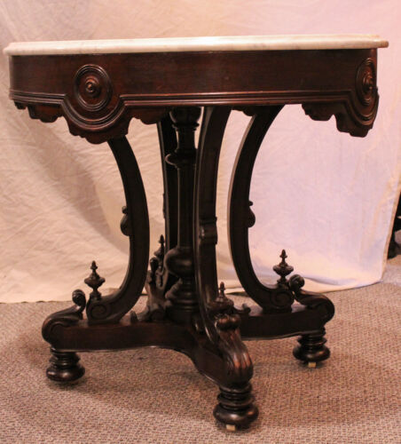 Antique Victorian Walnut Oval shaped Marble top Parlor Table
