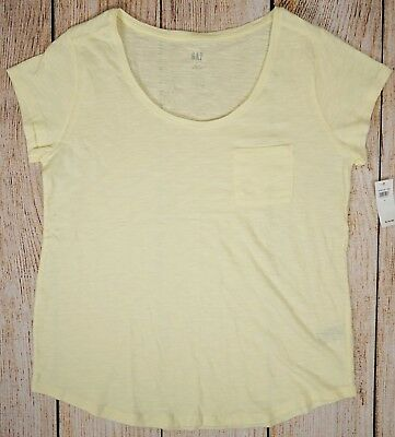 NWT Womens GAP Short Sleeve Easy Tee Scoop Neck Pocket New Honeysuckle - 579823