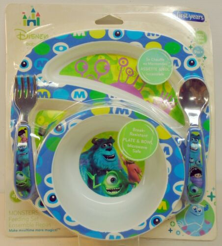Monsters Inc Disney Baby Child Mealtime Bowl Plate fork spoon Feeding Set