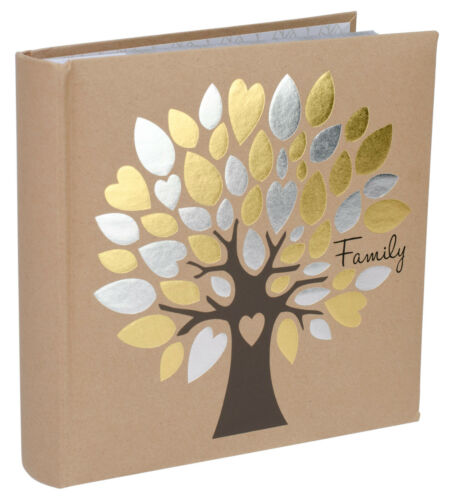 Family Tree Photo Album Silver and Gold Foil Accents (Holds 160 4x6 Photos 2-UP)