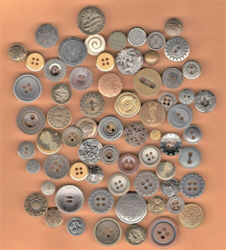 NICE LOT of 60+ VINTAGE + OLD METAL BUTTONS *Sew Crafts *STEAMPUNK