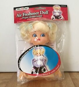 "Lot of 2 Fibre Craft 3101-01 Blonde Hair 5 3/4"" Air Freshener Dolls w/ Pattern"