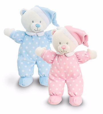 Stofftier Teddy Bär Kuscheltier Keel Baby Plüschtier mit Mütze blau rosa ca.22cm