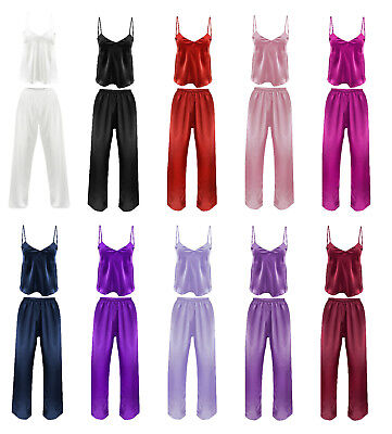 Satin Schlafanzug Damen Pyjama Set Trägertop Lange Pyjamahose XS S M L XL 2XL  - Satin Anzug