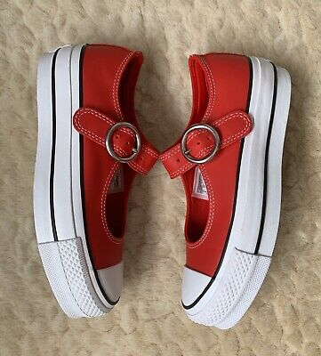 Converse Chuck Taylor All Star Mary Jane Leather Trainers Shoes Red UK3 RRP £65