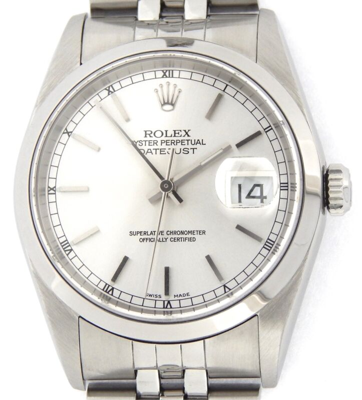 Rolex Datejust Men Stainless Steel No Holes Watch Silver Dial Jubilee Band 16200