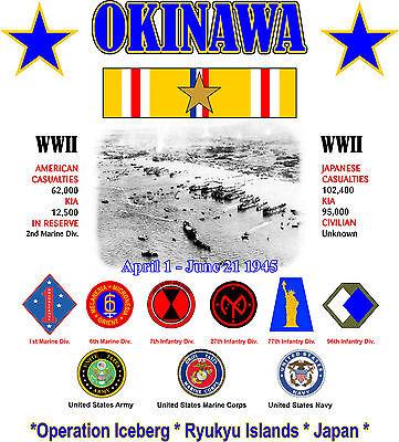 Okinawa Ww Ii Battle Shirt W/ Asiatic Ribbon Operation Iceberg 2-sided Shirt